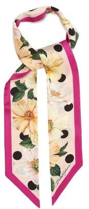 Dolce & Gabbana Floral-print Silk-faille Scarf - White Multi