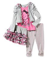 Nannette Girls' 2T-6X Grey/Pink Puppy Skeggings Set