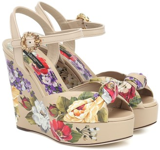 Dolce & Gabbana Bianca floral wedge sandals