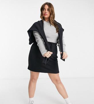 ASOS DESIGN Curve drawcord mini skirt in black