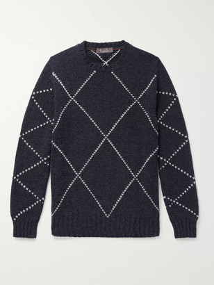 Loro Piana Slim-Fit Baby Cashmere-Jacquard Sweater