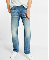 Express straight leg loose fit faded jeans