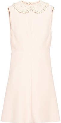 Miu Miu Embroidered Collar Sleeveless Mini Dress