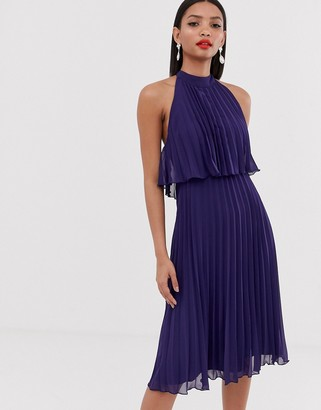 Asos Design DESIGN halter tie neck midi dress in pleat-Navy