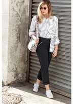 Ulla Popken Striped Shirt with Polo Collar