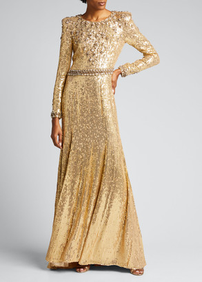 Jenny Packham Embellished Long-Sleeve Column Gown