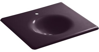 Kohler Iron/Impressions 25-in Vanity-Top Bathroom Sink with Single Faucet Hole