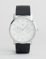 Asos Watch With Black Leather Strap and White Face