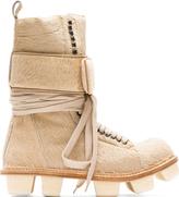 Rick Owens Beige Calf-Hair Plinth Hiker Boots