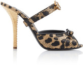 Dolce & Gabbana Crystal-Embellished Printed Raffia And Leather Sandals
