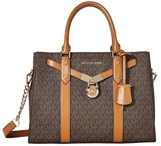 MICHAEL Michael Kors Nouveau Hamilton Large Satchel (Brown/Acorn) Satchel Handbags