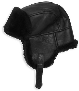 Surell Leather Shearling Trooper Hat