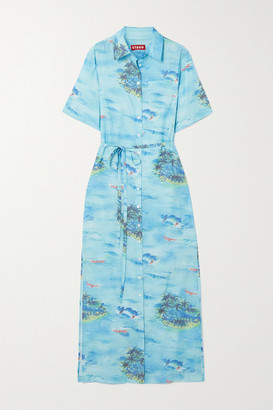 STAUD Printed Woven Shirt Dress - Blue