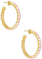 The M Jewelers Ny The M Jewelers NY Pink Eternity Pave Hoops