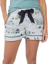 Fat Face Puffin Seaside Print Pyjama Shorts, Blue