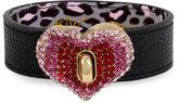 Betsey Johnson Gold-Tone Pavé Heart Black Leather Bracelet