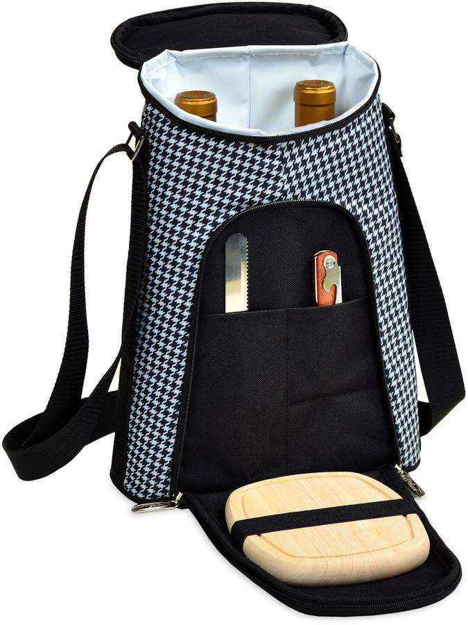 Picnic at Ascot Houndstooth Double Bottle Carrier with Cheese set