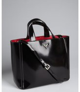 Prada black and red glazed leather convertible tote