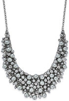Charter Club Silver-Tone Cubic Zirconia & Gray Imitation Pearl Shaky Statement Necklace, Only at Macy's