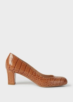 Hobbs Amber Crocodile Print Block Heel Court Shoes