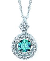 Ice Brilliance in Motion 1/3 CT TW Diamond 14K Gold Halo Necklace by Boston Bay Diamonds
