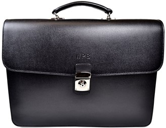 Royce New York Saffiano Leather Double Gusset Briefcase