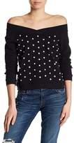 Rebecca Minkoff Macey Embellished Off-the-Shoulder Sweatshirt
