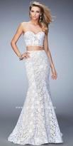 La Femme Lace Corset Two Piece Prom Dress