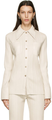 Nanushka Off-White Vegan Leather Blaine Shirt
