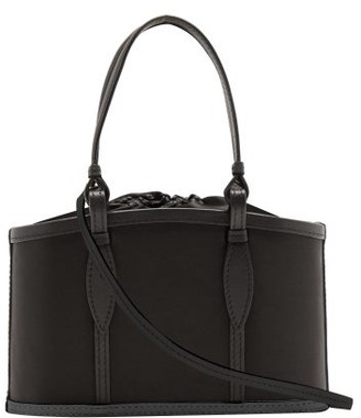 Hunting Season The Basket Leather-trimmed Satin Bag - Black