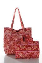 Vera Bradley Orange Pink Cotton Floral Print Organizer Tote Handbag Set