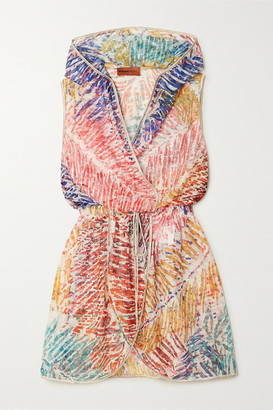 Missoni Hooded Wrap-effect Metallic Crochet-knit Mini Dress - Pink