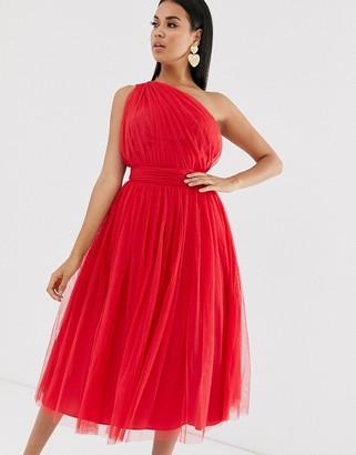 Asos Design DESIGN one shoulder tulle midi dress-Red