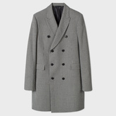 Paul Smith Men's Black And White Houndstooth Double-Breasted Wool Coat