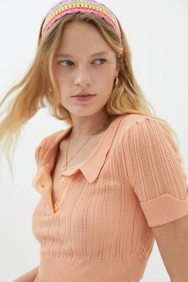 For Love & Lemons Phoebe Pointelle Knit Polo