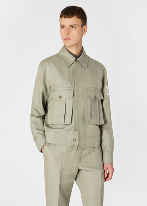 Paul Smith Men's Pistachio Green Cotton-Silk Blend Flight Jacket