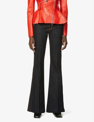 Alexander McQueen Mid-rise flared stretch-denim jeans