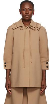 SHUSHU/TONG Brown Ruffle Collar Coat