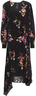 Preen Line Asymmetric Floral-print Crepe De Chine Midi Dress