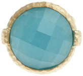 Rivka Friedman Faceted Round Caribbean Blue Quartzite Hammered Bezel Ring