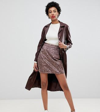 Glamorous Tall mini skirt in brushed pony leopard-Beige