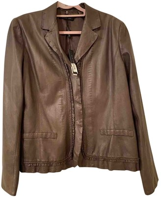 Elie Tahari Brown Leather Jacket for Women