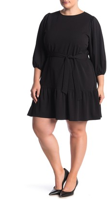 Love...Ady Puff Sleeve Flounce Hem Crepe Dress (Plus Size)