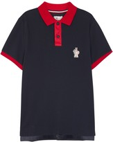 Moncler Grenoble Navy Contrast-trim Piqué Cotton Polo Shirt