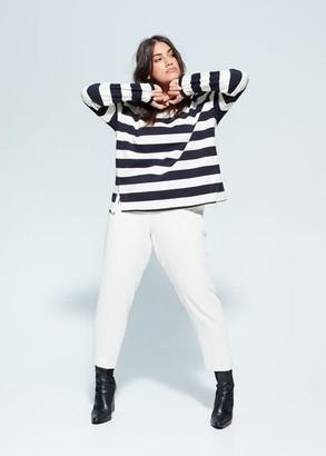 MANGO Violeta BY Striped print sweatshirt dark navy - S - Plus sizes