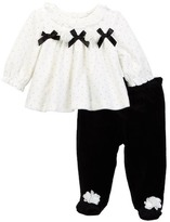 Little Me Bows Velour Pant Set (Baby Girls)