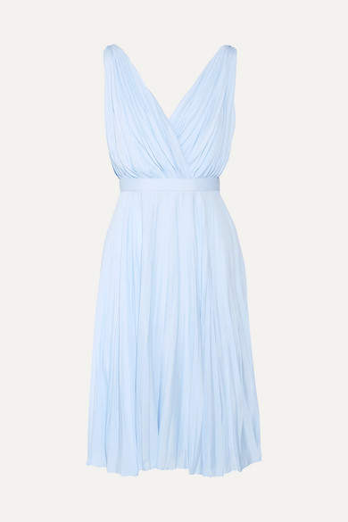 Prada Plissé Crepe De Chine Dress - Sky blue