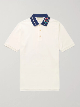 Gucci Slim-Fit Logo-Embroidered Stretch-Cotton Pique Polo Shirt