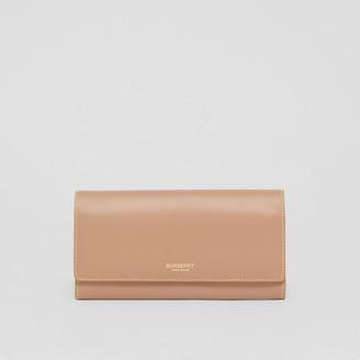 Burberry Topstitched Two-tone Leather Continental Wallet