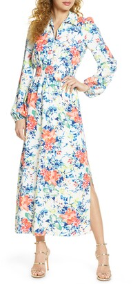 Charles Henry Floral Long Sleeve Shirtdress